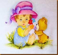 menina de chapéu rosa com ursinho