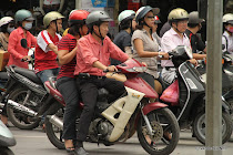 Incredible amounts of motorbikes lining up for the traffic light in Hanoi, Vietnam's capital
