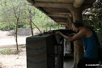 Shooting with an AK-47 (Kalashnikov) near the Cu Chi tunnels in Vietnam