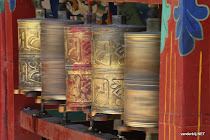Tibetan prayer wheels turning