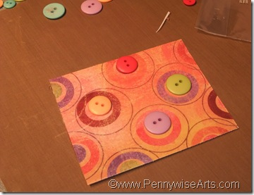 6. Peel liner and apply buttons in circles