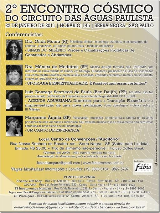 Programação do Segundo Encontro Cósmico em Serra Negra 2011