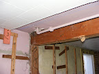 The beam across the basement ceiling shows the pipes going to the backyard spigot as well as the support beam