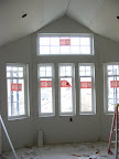 Bay window in playroom w/drywall