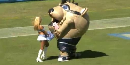 Mascot eats Cheerleader