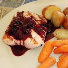 Grilled Salmon Steaks with Savory Blueberry Sauce