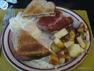 Corned Beef Hash and Eggs at Buttonwoods Fish & Chips in Warwick, RI - Photo by Taste As You Go
