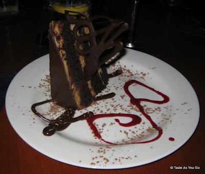 Mexican Chocolate Cake with Peanut Butter Mousse and Chocolate Ganache at Apollo Grill in Bethlehem, PA - Photo by Taste As You Go