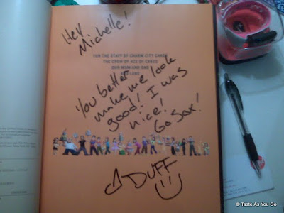 Duff Goldman signed my Ace of Cakes book - Photo by Taste As You Go