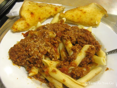 Penne with Meat Sauce from Cafeteria at the Maswick Lodge - Grand Canyon - Photo by Taste As You Go