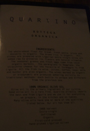 quartino menu