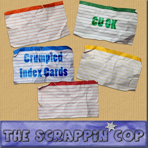 "Free ""Crumpled Index Cards"" from The Scrappin Cop - {CU}"