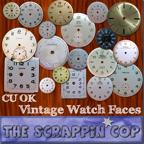 "Free ""Vintage Watch Faces"" from The Scrappin Cop - {CU}"
