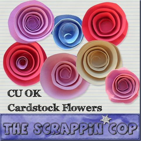 "Free ""Cardstock Flowers"" from The Scrappin Cop - {CU}"