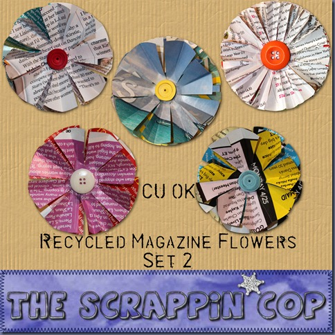"Free ""Magazine Flower Set"" from The Scrappin Cop - {CU}"