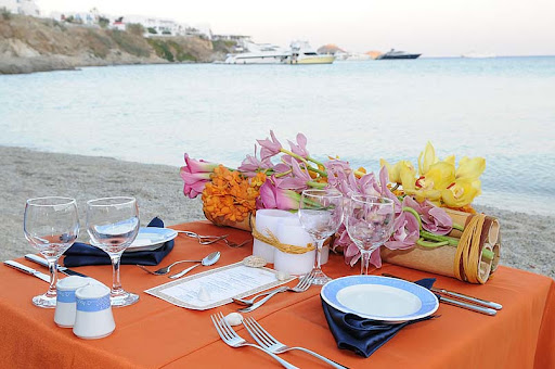 sweetheart table for the bride and groom at an elegant beach wedding