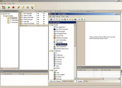 WinAutomation Console and Job Designer window