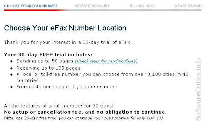 eFax 30-day trial