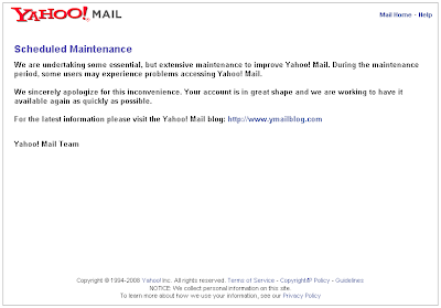 Yahoo Mail scheduled maintenance web page screen shot