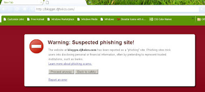 suspected phishing site on Google Chrome