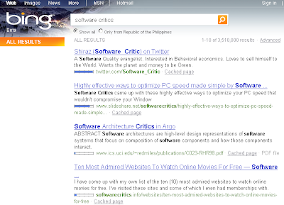 Bing results for Software Critics