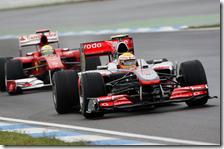 Hamilton e Massa nelle prove libere del gran premio di Germania 2010