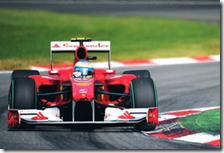 Alonso al volante della Ferrari durante il gran premio d'Italia 2010