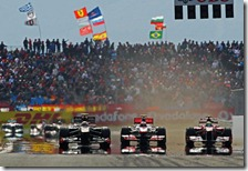 Petrov, Button e Massa nel gran premio della Turchia 2011