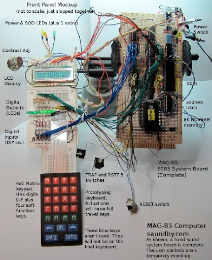 MAG-85, 8085 CPU computer with 8K RAM, 4x5 matrix keypad, LCD display,and 16 additional digital I/Os.