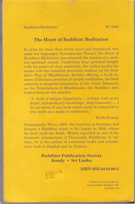 Heart of Buddhist meditation Back Cover