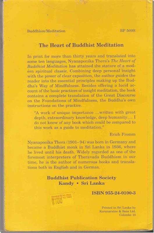 Heart of Buddhist meditation Back Cover