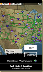 National road conditions map - zoomed in