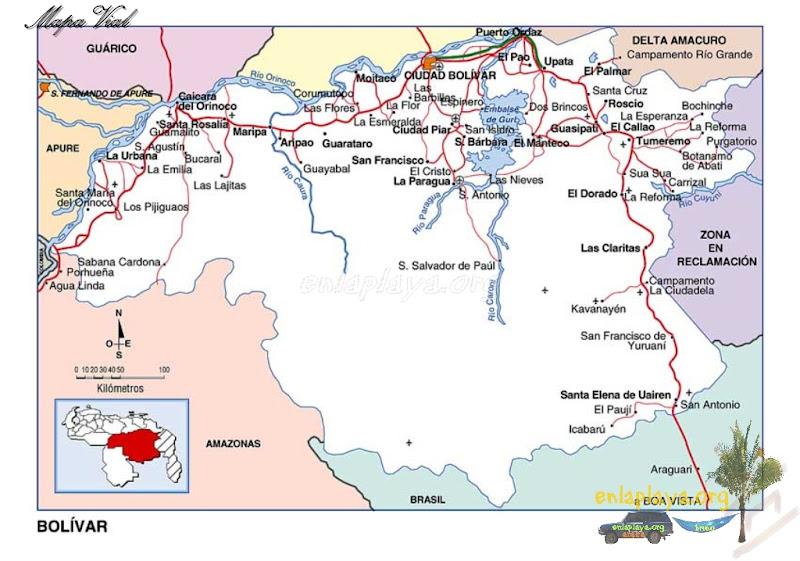 Mapa vial del Estado Bolívar