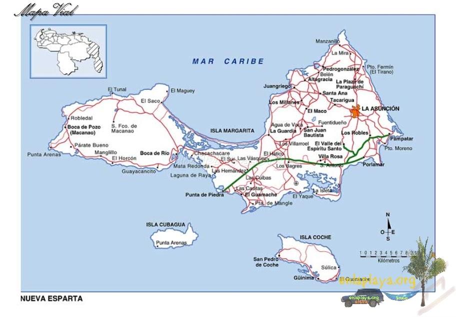 Mapa vial del Estado Nueva Esparta