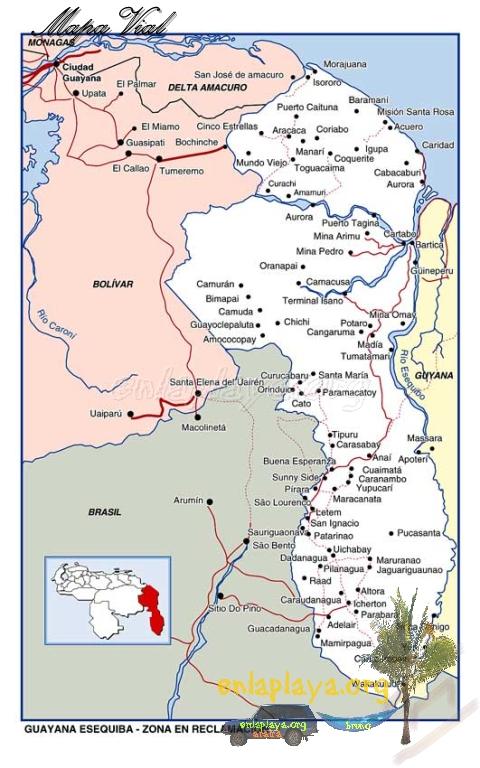 Mapa vial de La Zona en Reclamación