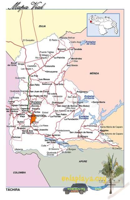 Mapa vial del Estado Tachira