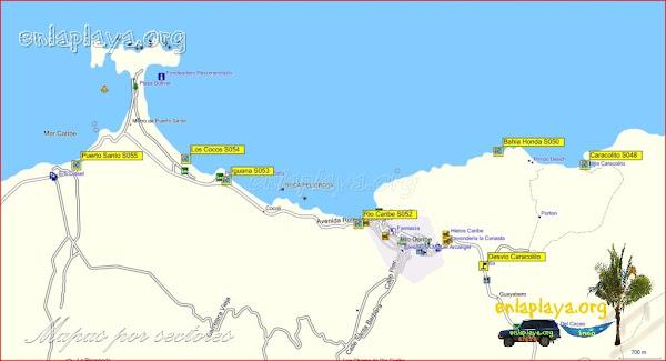 Mapa Río Caribe - Playas desde Puerto Santo hasta Caracolito
