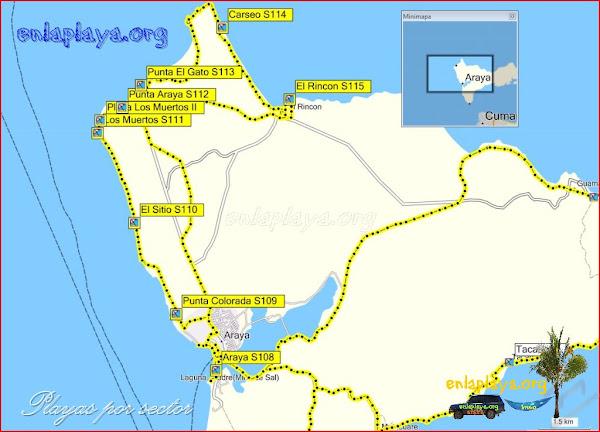Araya - Playas desde Araya hasta El Rincon