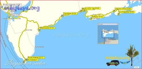 Mapa Manicuare - Playas desde Punta Arenas hasta La Angoleta