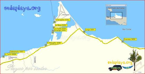 Mapa Chacopata - Playas desde El Turco hasta Guarapo