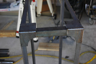 Brooklyn Coffee Table in the beginning stage with the braces welded together.