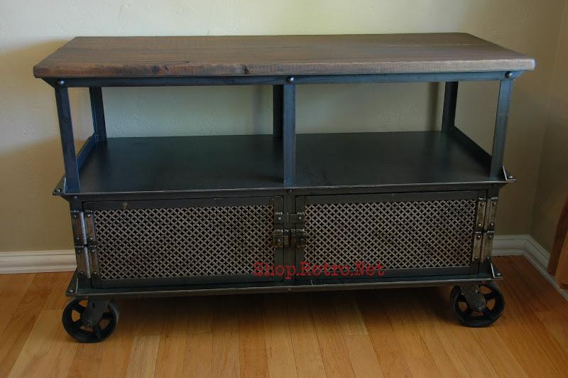 Media console vintage industrial furniture