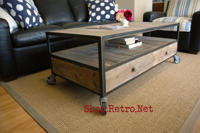 French Industrial Coffee Table with casters and 2 drawers - $545  vintageaz.blogspot.com - Coffee Tables Vintage Industrial Furniture