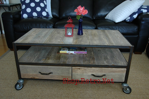 Vintage Industrial Inspired Apartment Size Coffee Table Vintage