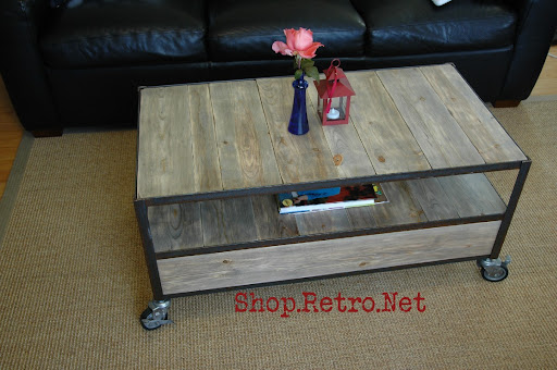 Vintage Industrial Inspired Apartment Size Coffee Table | Vintage ...