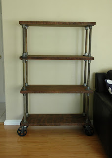 French Industrial Bookcase / Bookshelf on cast iron casters - http://shop.retro.net/?cat=46
