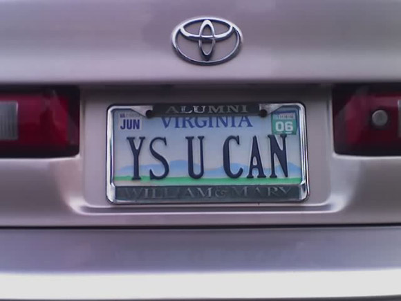 ys u can license plate