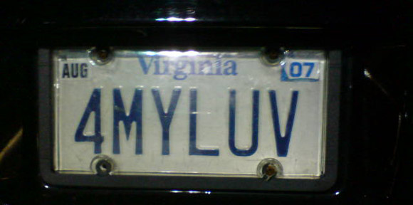 4 my luv license plate