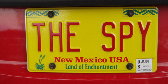 the spy license plate