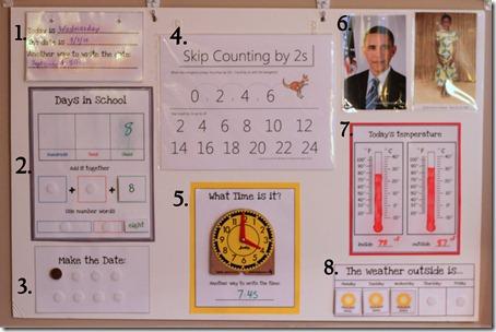 calendar and morning board